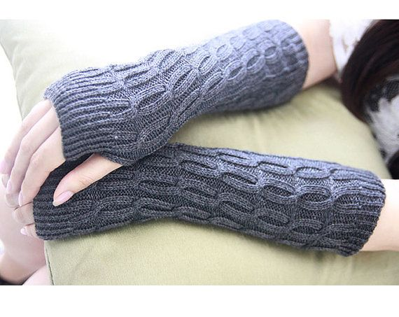 Dark Gray Knitted Arm Warmers Winter Fingerless Gloves Hand Warmers Cable Knit,Fall Mittens Stocking Stuffer,Knit Fingerless Gloves Women Gloves