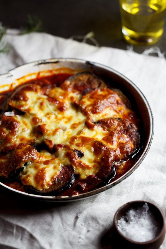Grilled aubergine baked with tomatoes, mushrooms and lots of cheese. The perfect low-carb, vegetarian comfort food.