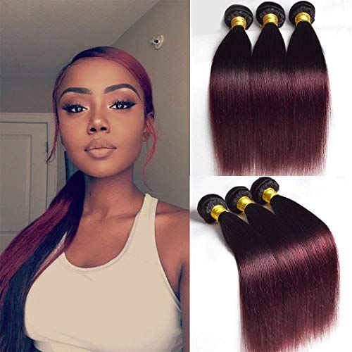 Amazing offer on 1b 99j Straight 3 Bundles 20 22 24 Inch Ombre Two Tone Burgundy Human Hair Remy Extensions Wine Red t1b Mixed Brazilian Dark Black And Burgundy Weave Sew In Hair Weft Long Cheap online