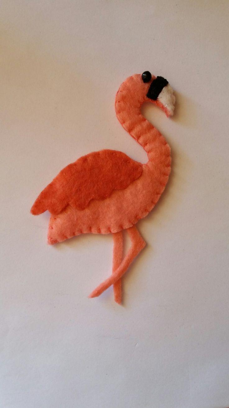 Felt# flamingo# magnet
