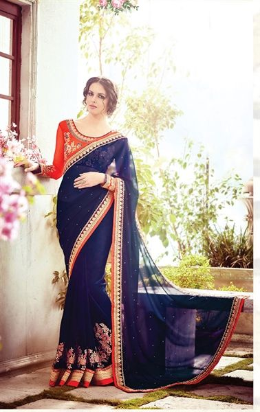 Magnificent Navy Blue Party Wear Saree