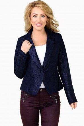 Mallory Textured Blazer in Navy