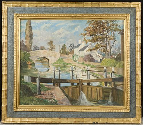 Francis Wynne-Thomas. (1907-1989). The Canal, Uxbridge with the Malt Shovel Pub.
