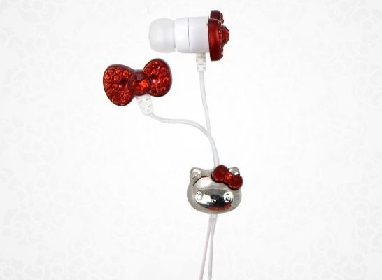 Hello Kitty In-Ear Headphones with Red Bow
