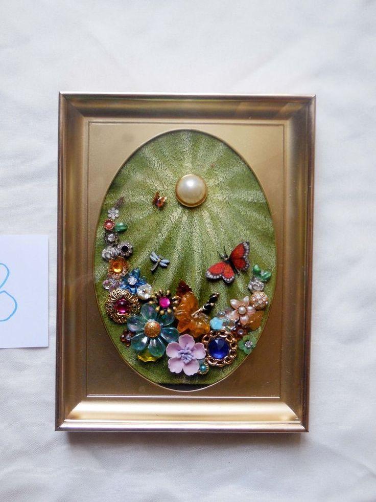 Vintage Rhinestone Jewelry Flowers Butterfly Handmade Framed Art 6x8 B | eBay