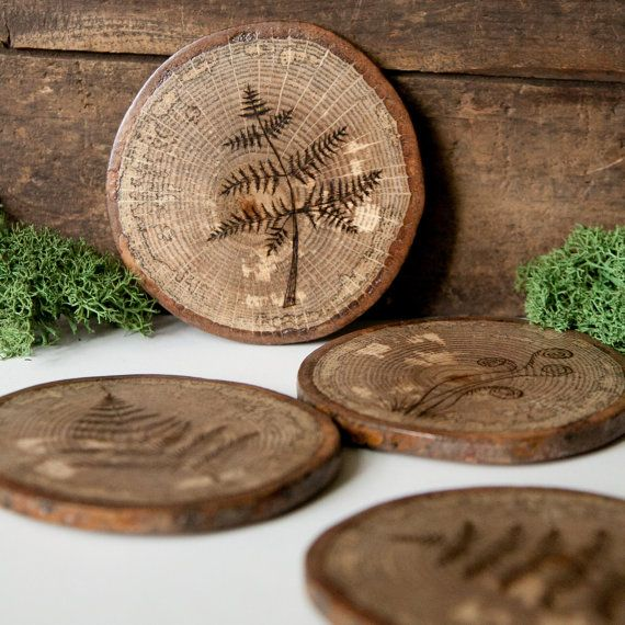 Set of 4 Rustic Wood Slice Coasters with cork by ForageWorkshop, $45.00