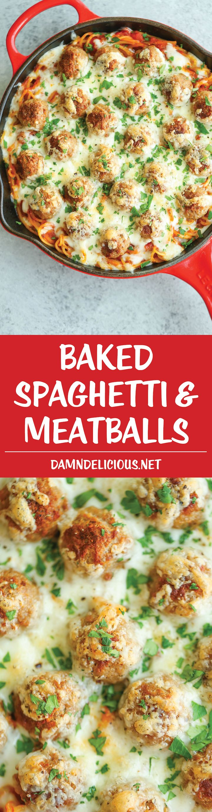 Baked Spaghetti and Meatballs - Traditional spaghetti and meatballs is turned into the most amazing baked cheesy casserole ever! A family favorite for sure!