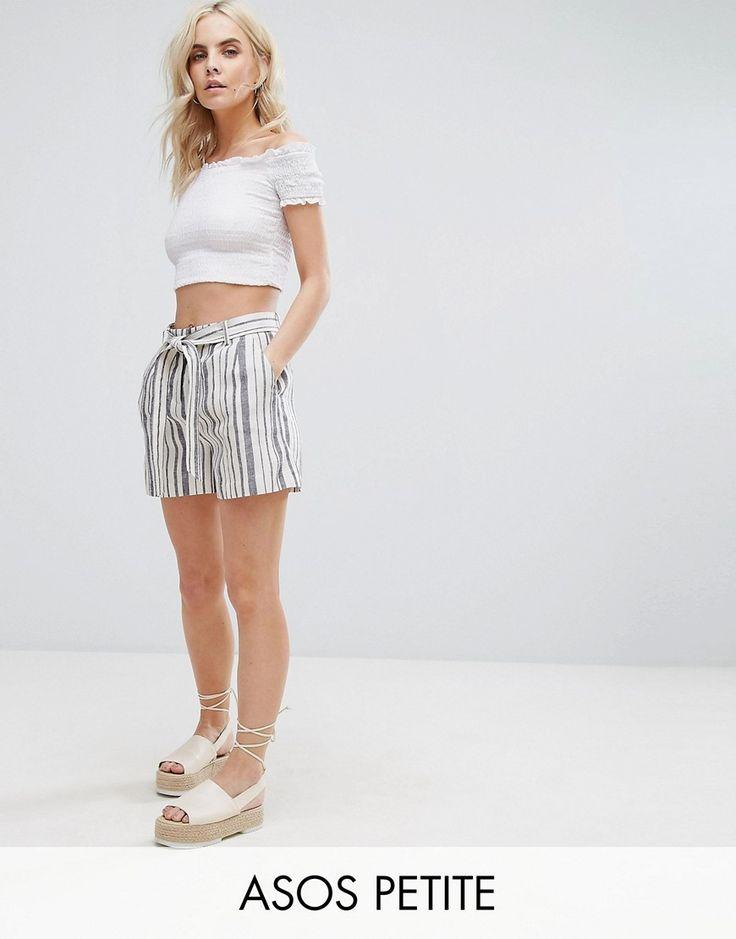 ASOS PETITE Belted Linen Short in Stripe - Multi