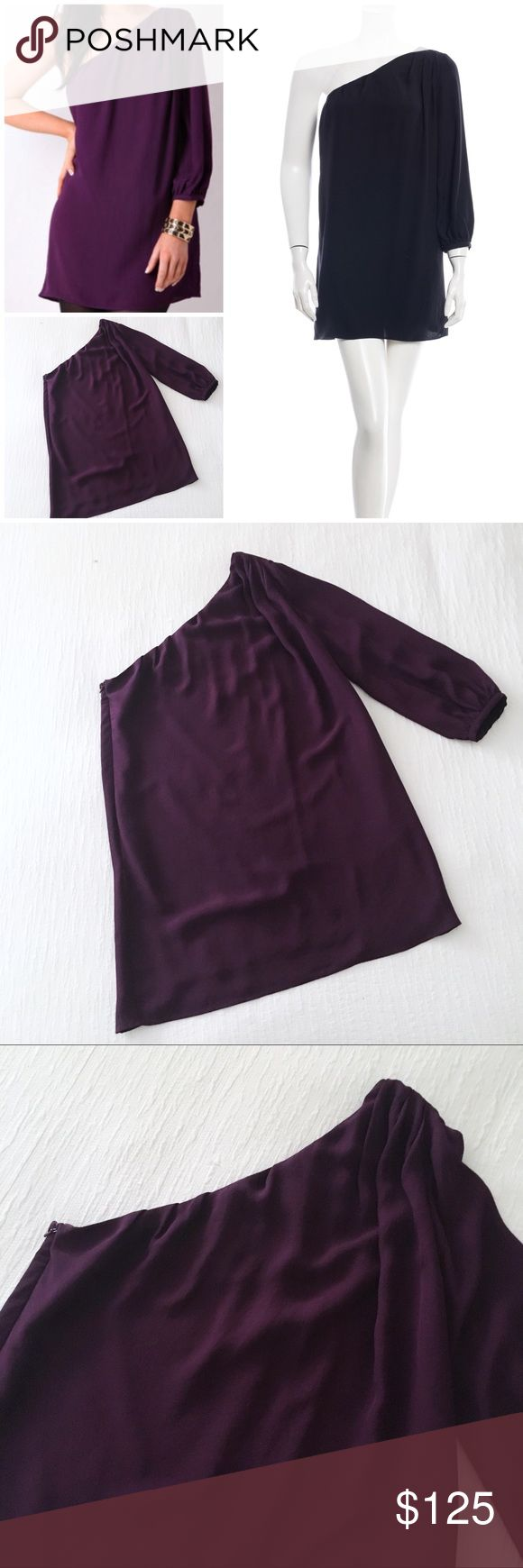 """elizabeth & james one shoulder dress in eggplant 87/13 triacetate/poly blend, silk/nylon lining. Laid flat measures 31"""" shoulder to hem, 17.5"""" across the bust, 20"""" sleeve. No flaws to note, in gently worn condition Elizabeth and James Dresses One Shoulder"""