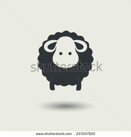 Sheep icon. Vector illustration, black silhouette, EPS10. - stock vector