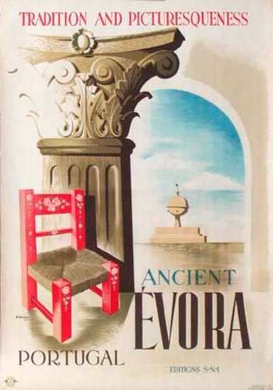 Vintage Travel Poster - Ancient Évora - Portugal.