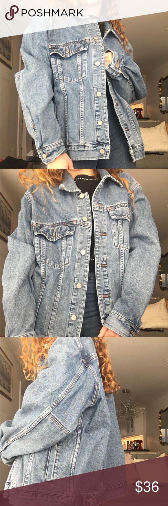 Oversized Denim Jacket Worn in oversized Eddie Bauer denim jacket. Men's Medium but fits a sized small perfectly oversized Brandy Melville Jackets & Coats Jean Jackets