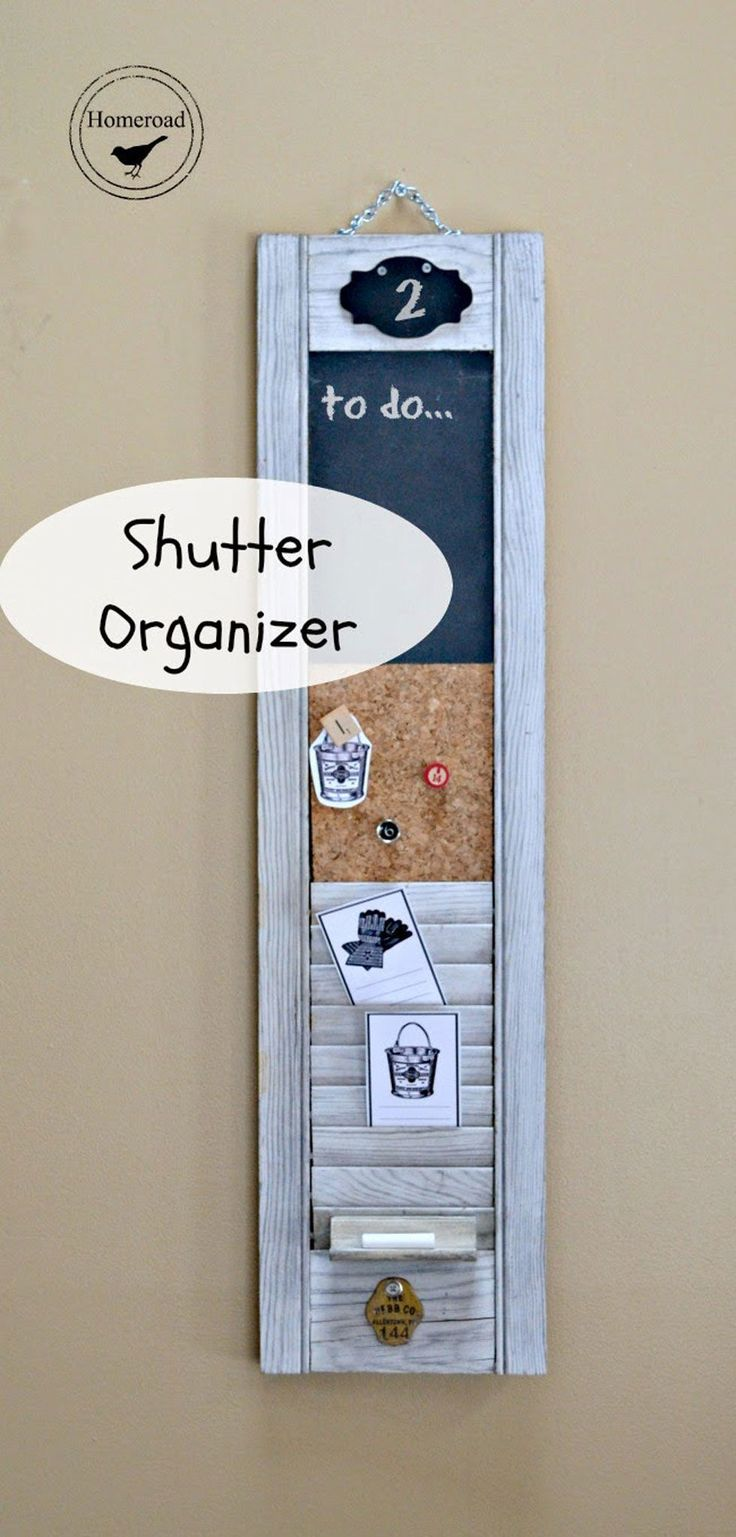 This wall-hung organizer has three nifty components: a chalkboard to write to-do lists, a cork pin board, and preserved shutter slots for neatly tucking away loose items. Get the tutorial at Homeroad.