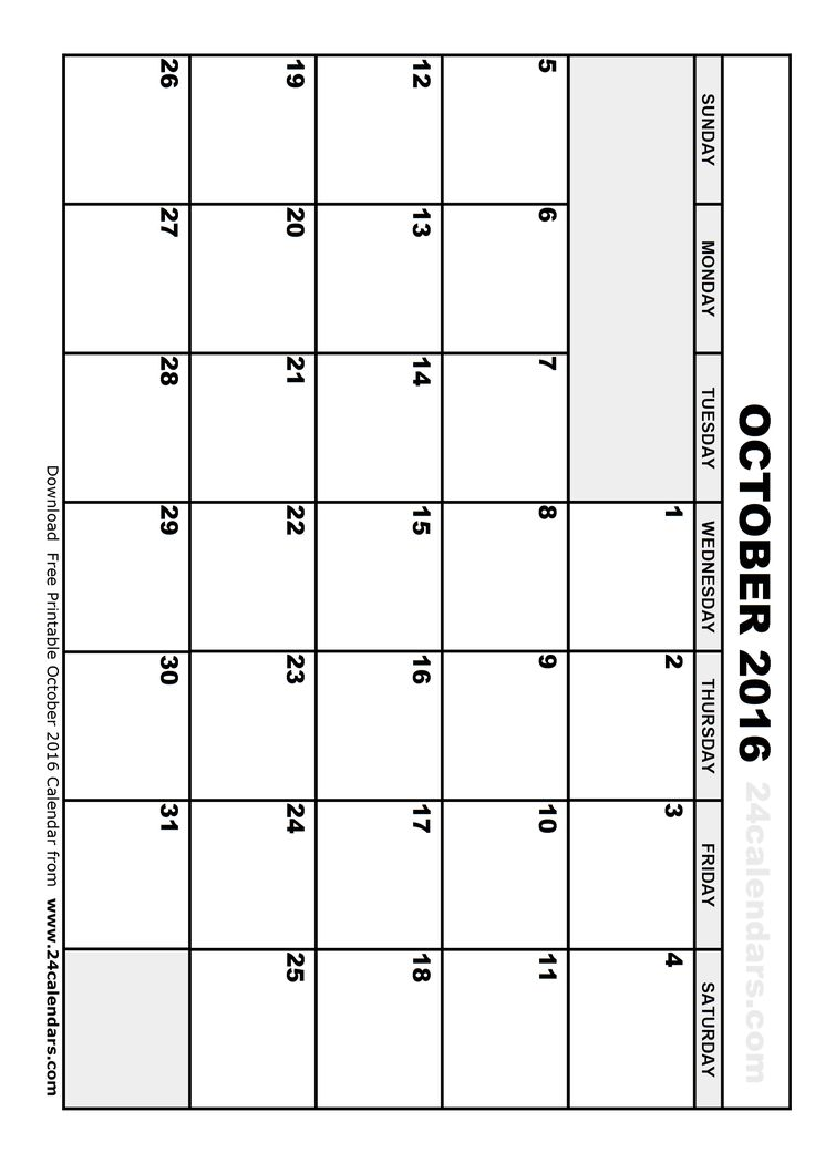 Calendar 2016 October