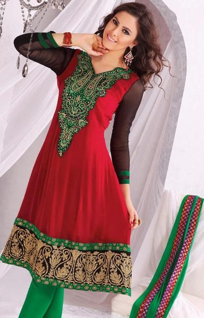 $70 Red Embroidery with Stone Work Anarkali Salwar Suit 24189