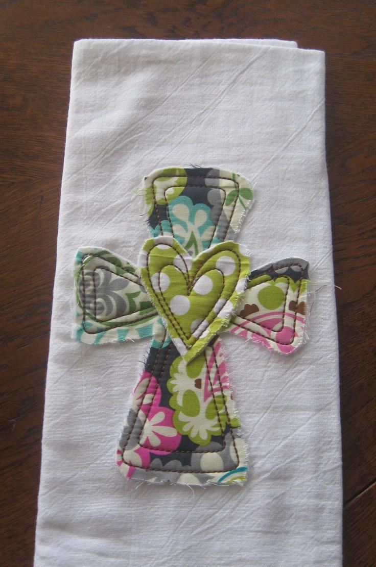 raggy heart cross flour sack towel