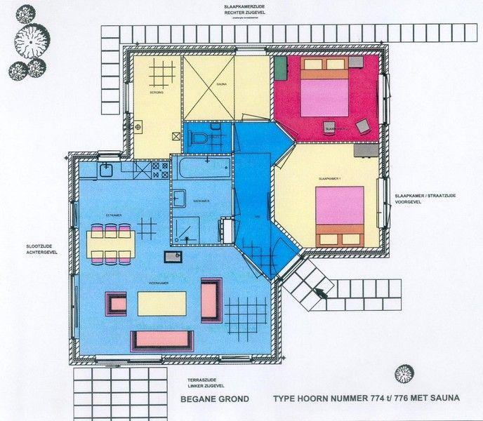 Plattegrond Villa Hoorn Comfort 4 op villavakantiepark IJsselhof