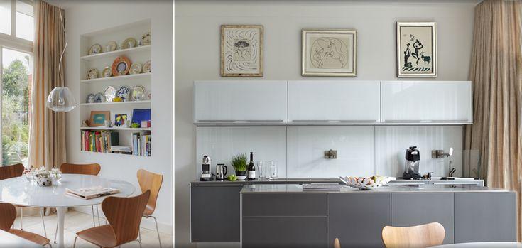 Bulthaup keuken Jaren '30 villa Amsterdam. Picasso. Saarinen dining table. vlinderstoel Arne Jacobsen.