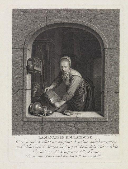 Johann Georg Wille naar Gerard Dou: La menagerie Hollandoise. Kopergravure. 1757. Staatliche Kunsthalle Karlsruhe. Naar Gerard Dou: Jonge vrouw in een venster, een koperen ketel boenend, 1663.
