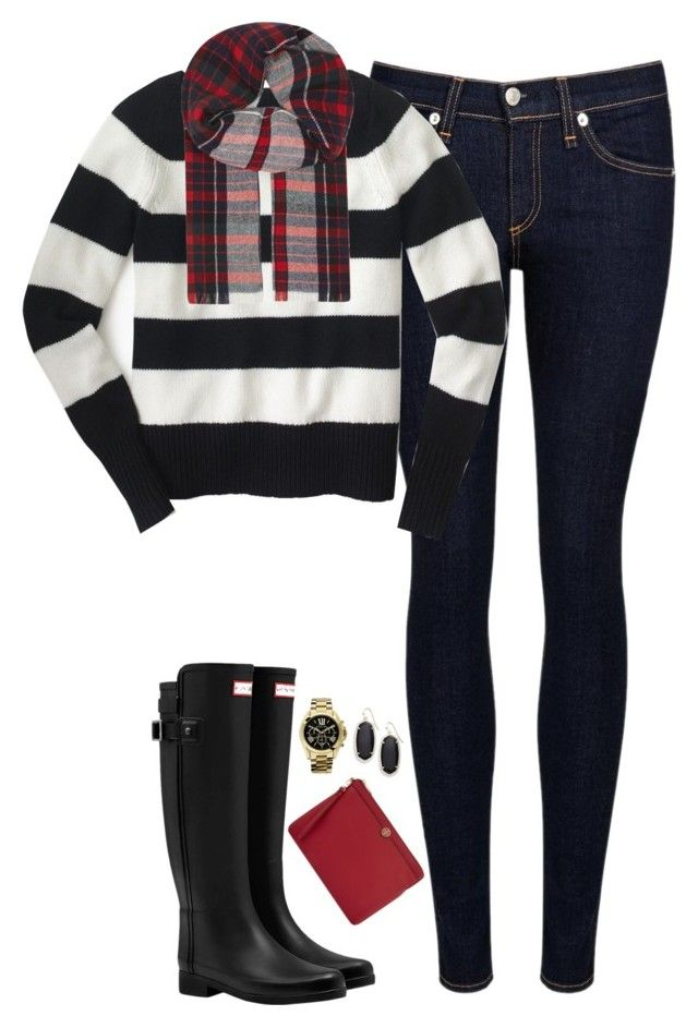 """Striped sweater, tartan scarf & Hunter boots"" by steffiestaffie ❤ liked on Polyvore featuring rag & bone/JEAN, J.Crew, Hunter, Johnstons, Tory Burch, Kendra Scott and Michael Kors"