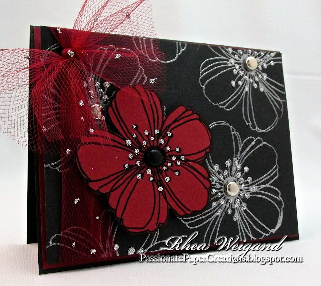 Passionate Paper Creations: Stampendous Tutorials. Dramatic Red & Black Floral Card: