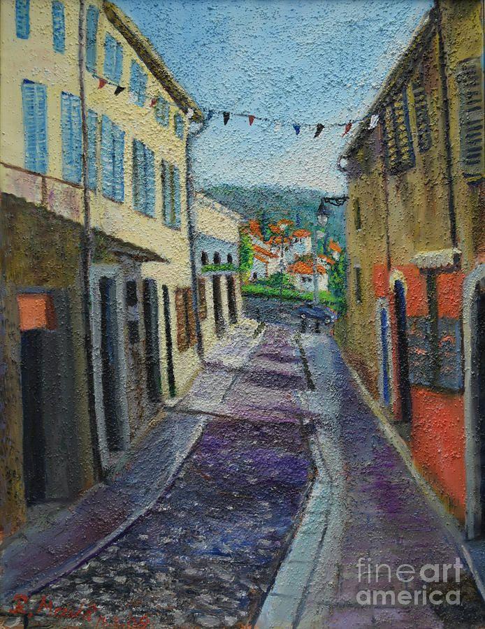 Raija Merila Painting - Street View From Provence by Raija Merila