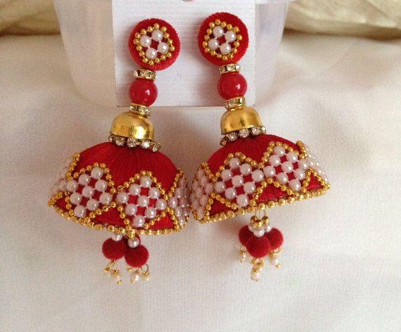 Big silk thread jhumkas, red jhumkas, Silk thread,Bollywood earrings, Indian earrings by CozMHappy