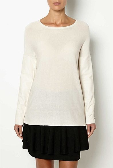 Sale Her | Witchery - Leather Sleeve Knit $99.95 from $149.95