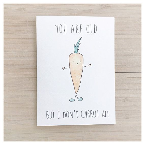 YOU ARE OLD BUT I DONT CARROT ALL Birthday Greeting Card Cards: - kenzieCARDS are a handmade brand of greeting cards, created using a combination of watercolour & ink. The front of each card features a sweet and simple image paired with clever puns and playful wording. Their quirky yet charming disposition make kenzieCARDS great gifts for all ages and celebrations! Packaging: - Each card is individually wrapped in its own plastic sleeve to protect from water damage Size: Card: 5 x 6 7/8...