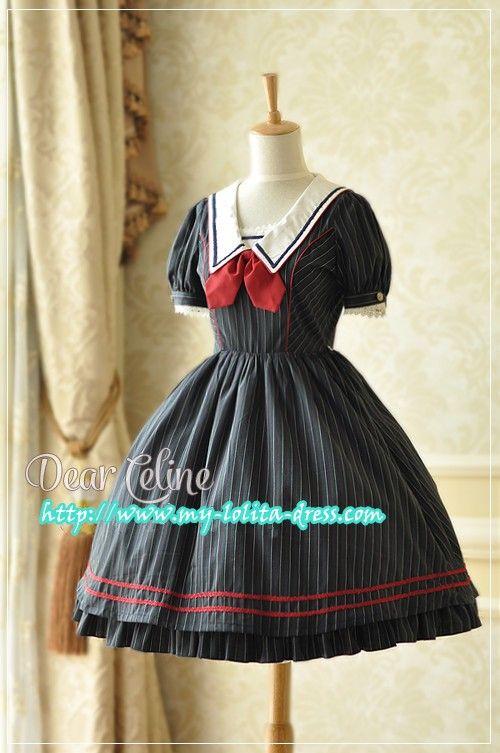 --> Recommendation: Dear Celine ***My College*** Short Sleeves Striped OP --> A good alternative to Angelic Pretty University OP, right? :) --> Learn more: http://www.my-lolita-dress.com/dear-celine-my-college-striped-lolita-op-dress-dc-39