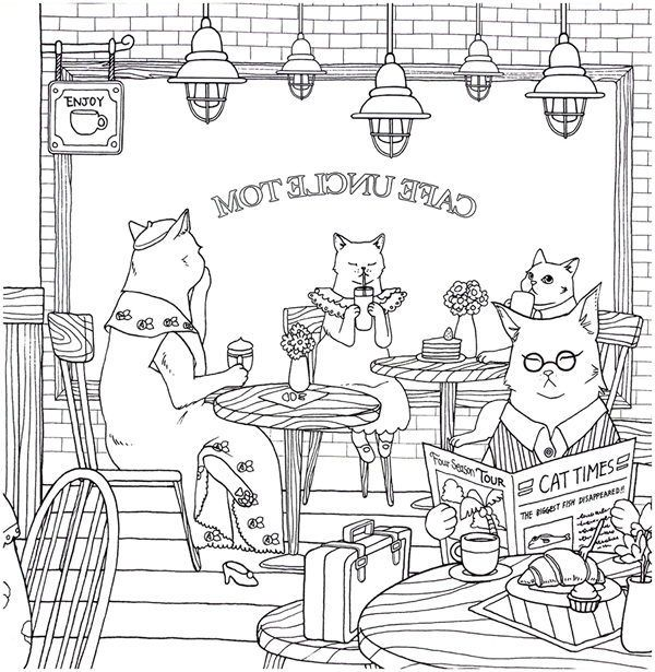 Cat Coloring Therapy Coloring Book Download in 2020   Cat ...