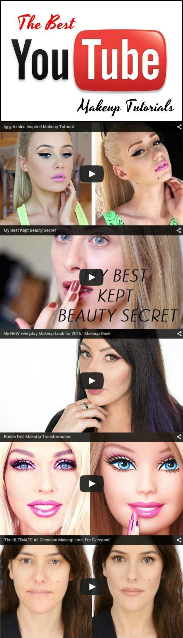 Top 10 Youtube Makeup Tutorials | The Best Beauty Tips and Tricks at http://makeuptutorials.com/youtube-makeup-tutorials-part-1/