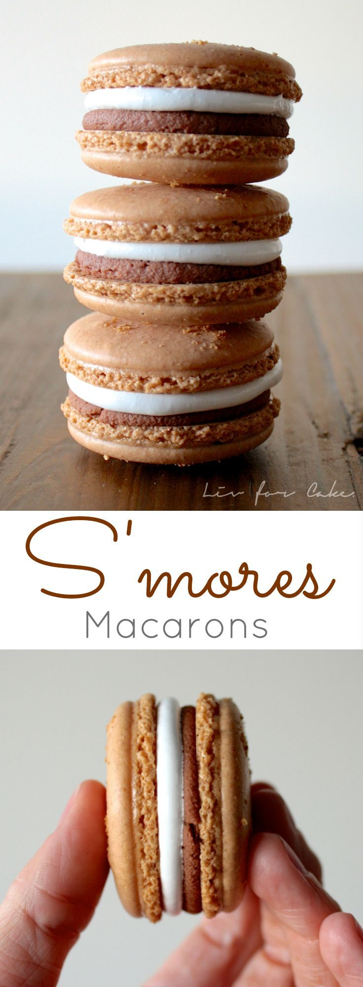These s'mores macarons will satisfy your craving when there isn't a campfire nearby. Perfect blend of graham cracker cookies filled with marshmallow and chocolate. | http://livforcake.com