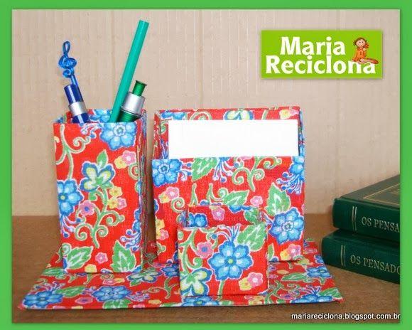 ** Maria Reciclona **: Reutilize embalagens e faça um conjunto para escri...
