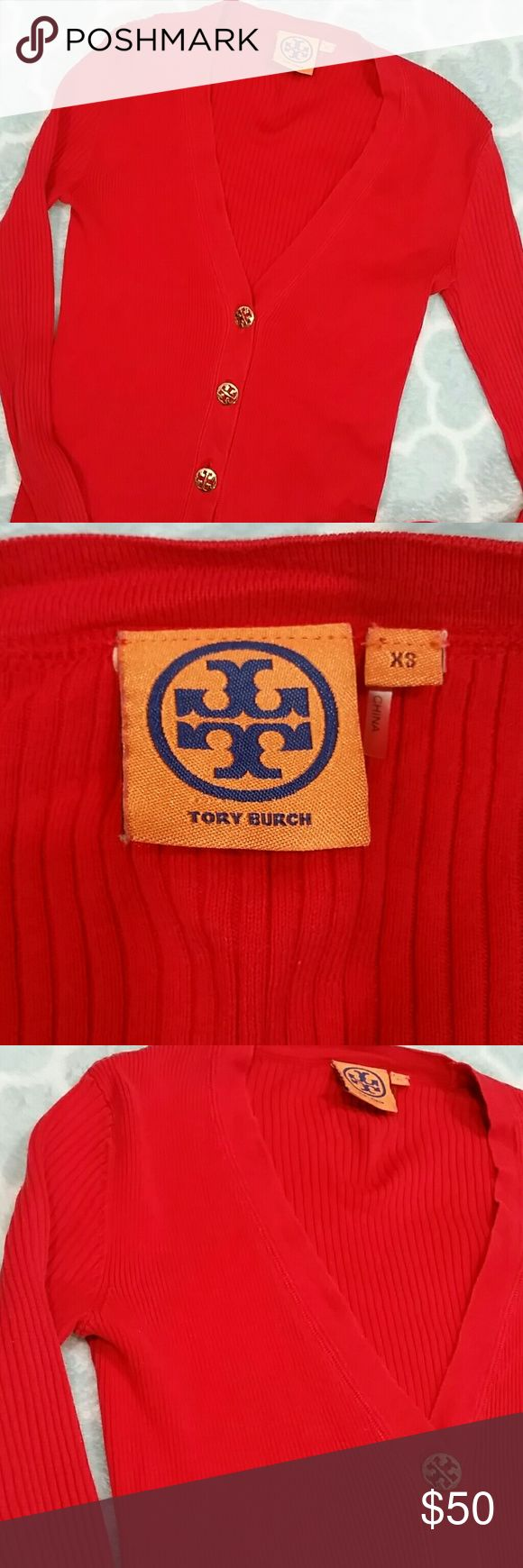 "Tory Burch Red Cardigan Sweater Size XS Tory Burch Red Cardigan Button Down Sweater. Gold Tory Burch Logo Buttons. 100% Cotton. Lightweight. Good used condition - see last picture for two tiny flaws in fabric. Color slightly less bright than appears in pictures.  Armpit to armpit- 13""  Length from shoulder - 21"" Tory Burch Sweaters Cardigans"