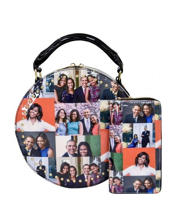 1 Glossy Magazine Cover Collage 2-in-1 Dome Satchel /& Wallet Set Michelle Obama Handbag Multi