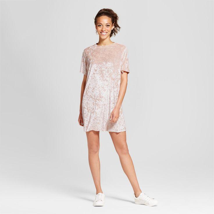 Women's Crushed Velvet T-Shirt Dress - Xhilaration (Juniors') Nude Pink Xxl