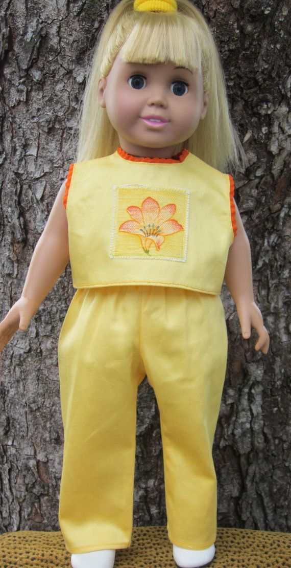 Yellow 2 piece cotton pant outfit for an 18 by TinaDollDesigns, $12.00