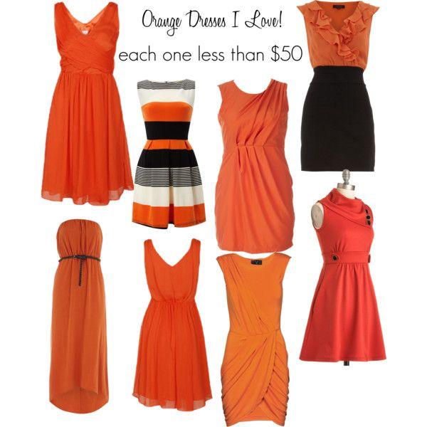 Orange color block lace bubble dress