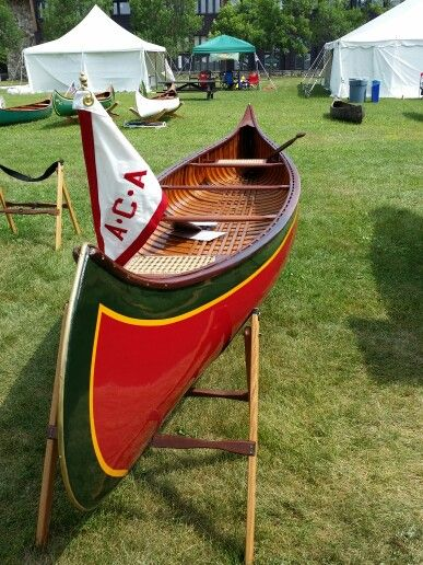 Wood and canvas canoe at the Wooden Canoe Heritage Association in Paul Smith's Adirondacks.