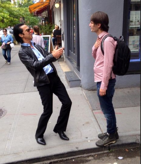 That moment when Nick Cave ran into Radiohead's Jonny Greenwood on the streets of NYC captured by twitter user @huntingowls