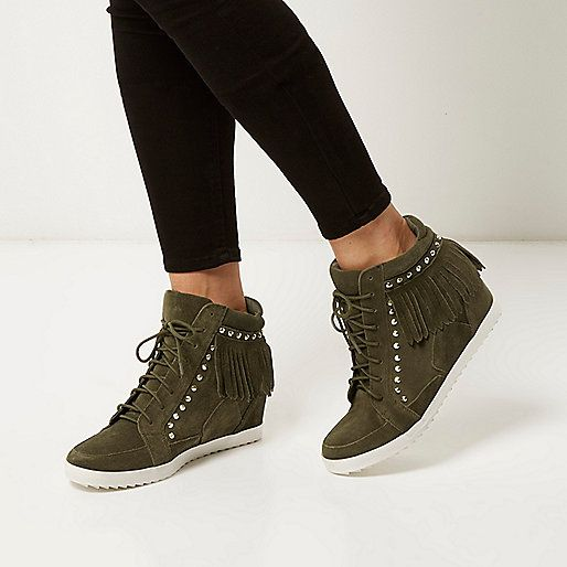 Khaki suede fringed high top wedge trainers - plimsolls / trainers - shoes / boots - women