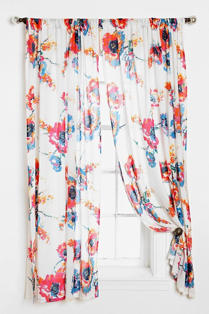 Blue and green floral curtains - Plum Bow Ikat Floral Curtain Urbanoutfitters
