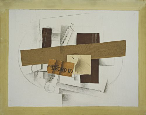 """Still Life with Tenora  Georges Braque (French, 1882–1963)    (summer or fall 1913). Cut-and-pasted printed and painted paper, charcoal, chalk, and pencil on gessoed canvas, 37 1/2 x 47 3/8"""" (95.2 x 120.3 cm). Nelson A. Rockefeller Bequest. © 2012 Artists Rights Society (ARS), New York / ADAGP, Paris  947.1979"""