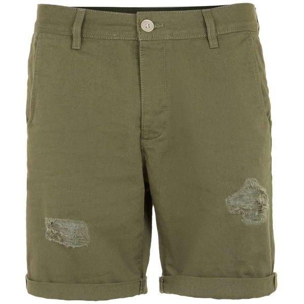 TOPMAN Khaki Distressed Skinny Chino Shorts ($44) ❤ liked on Polyvore featuring men's fashion, men's clothing, men's shorts, khaki, mens distressed denim shorts, mens khaki shorts and mens chino shorts