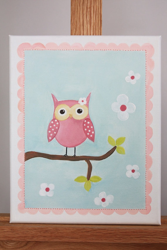 To make...Pink Owl Decor  Acrylic Painting  Baby Shower by emugallery, $39.00