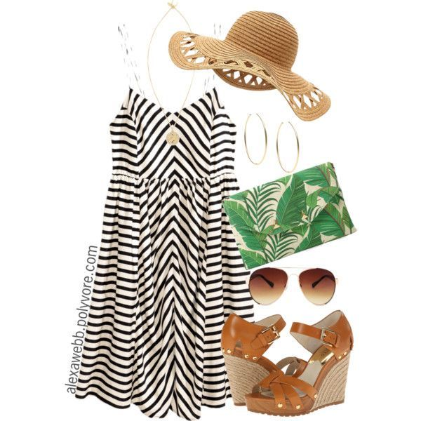 Plus Size Outfit Ideas.  Casual Striped Dress.  Black and White.  Wedge Sandals.  Green Leaf Clutch.  H&M.  Stella & Dot. [Alexa Webb Blog]