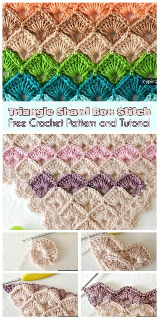 Triangle Shawl Box Stitch [Free Crochet Pattern and Tutorial]