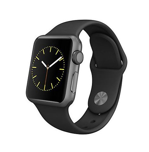 I WANT THIS BLACK BAND.   Apple Watch Sport 32mm Space Grey Aluminium Case & Sport Black Band