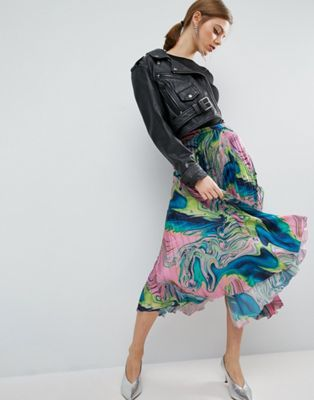 ASOS Pleated Satin Skirt with Marble Print